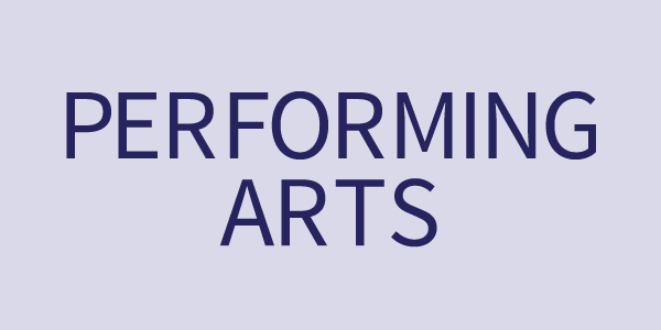 Performing Arts text on a light blue rectangle button
