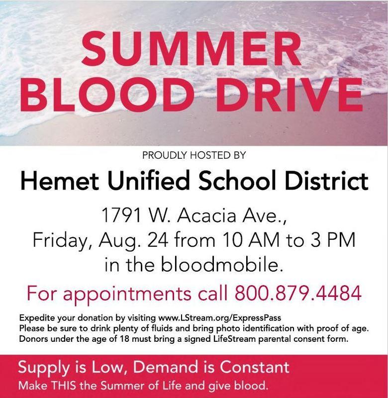Blood drive held at Hemet Unified School District