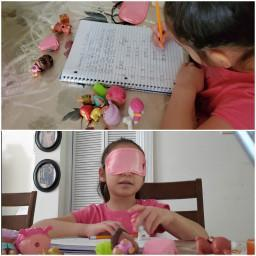 girl doing two activities collage