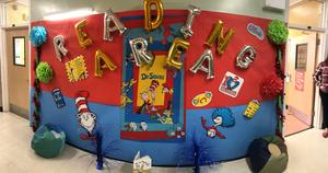 Parent Welcome Center Reading Area with Dr Seuss decorations