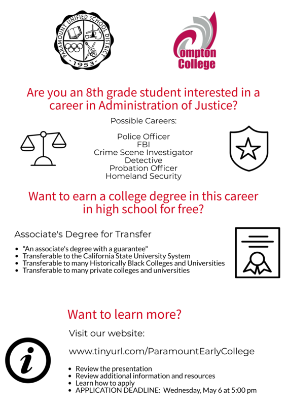 UPDATED INFO:  Administration of Justice Early College Program Featured Photo