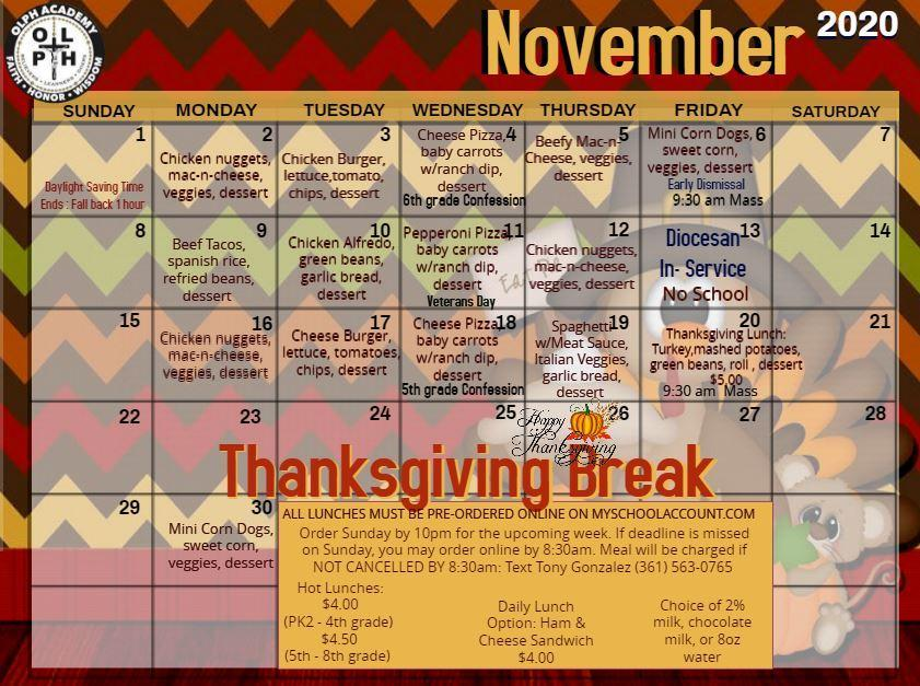 November 2020 Lunch Menu