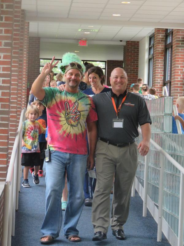 McFall Principal Jon Washburn and Superintendent Rob Blitchok lead the walk-a-thon parade.