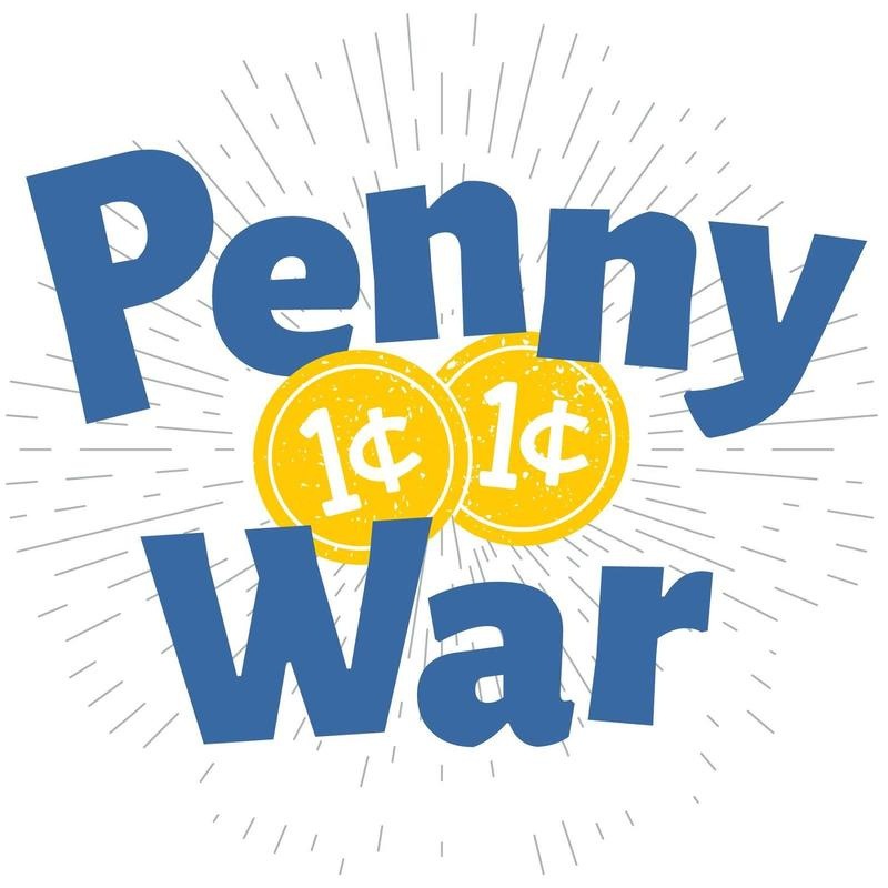 The word Penny War in blue lettering with one cent written on it