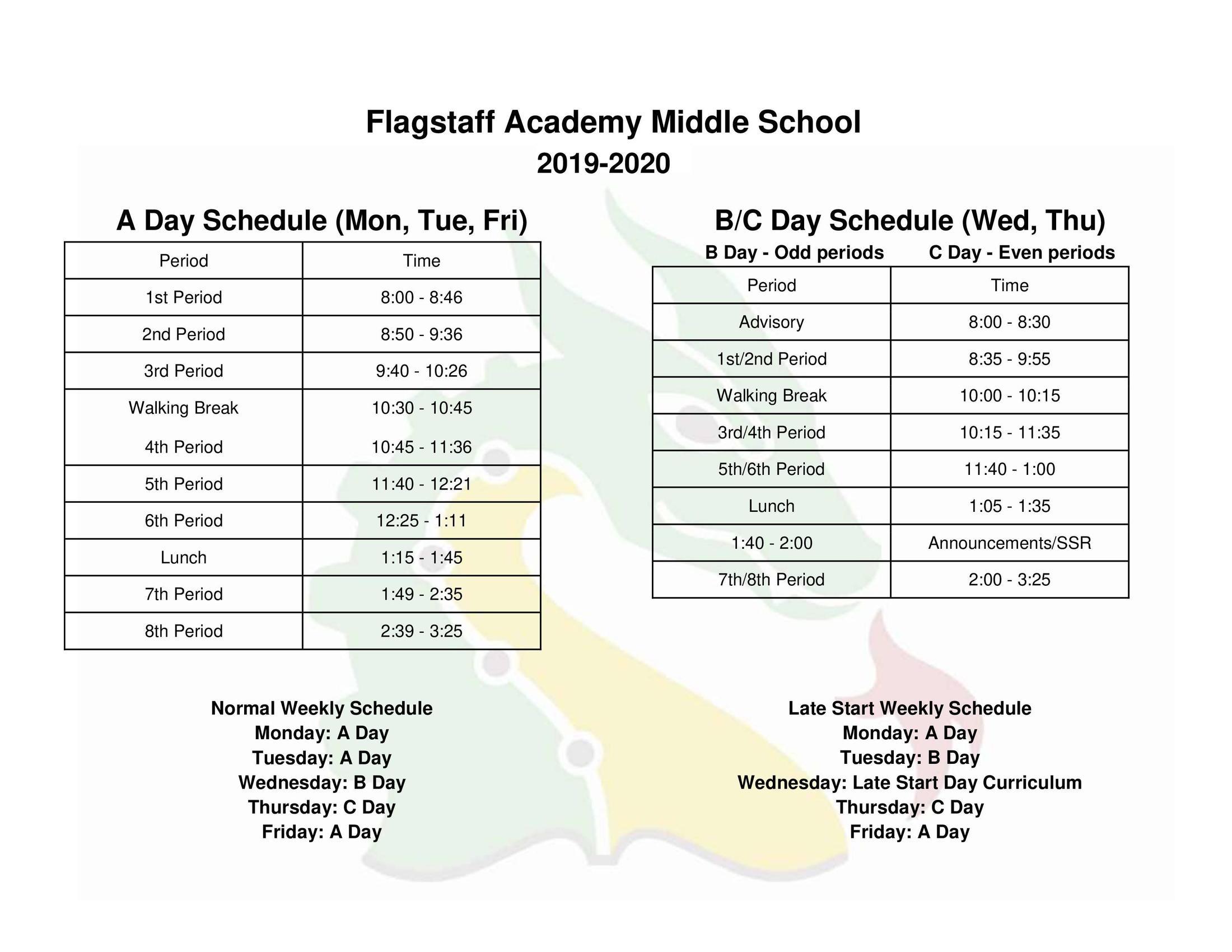 Middle School Bell Schedule - Grade Levels & Academics - Flagstaff
