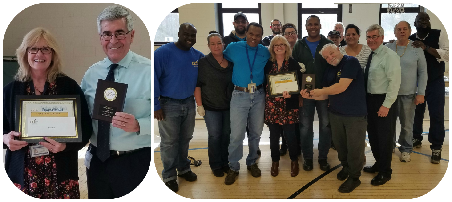 EOM winner with Executive Director and coworkers (collage)
