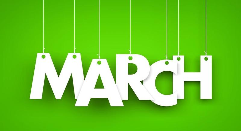 march in white on green background