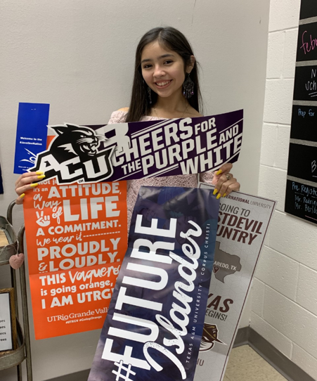 student with college banners