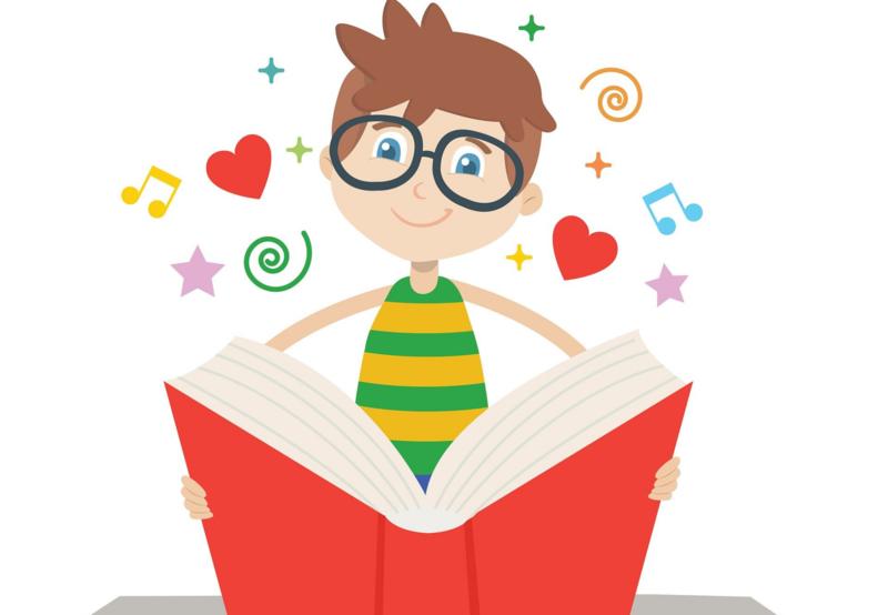 Cartoon image of boy reading a book