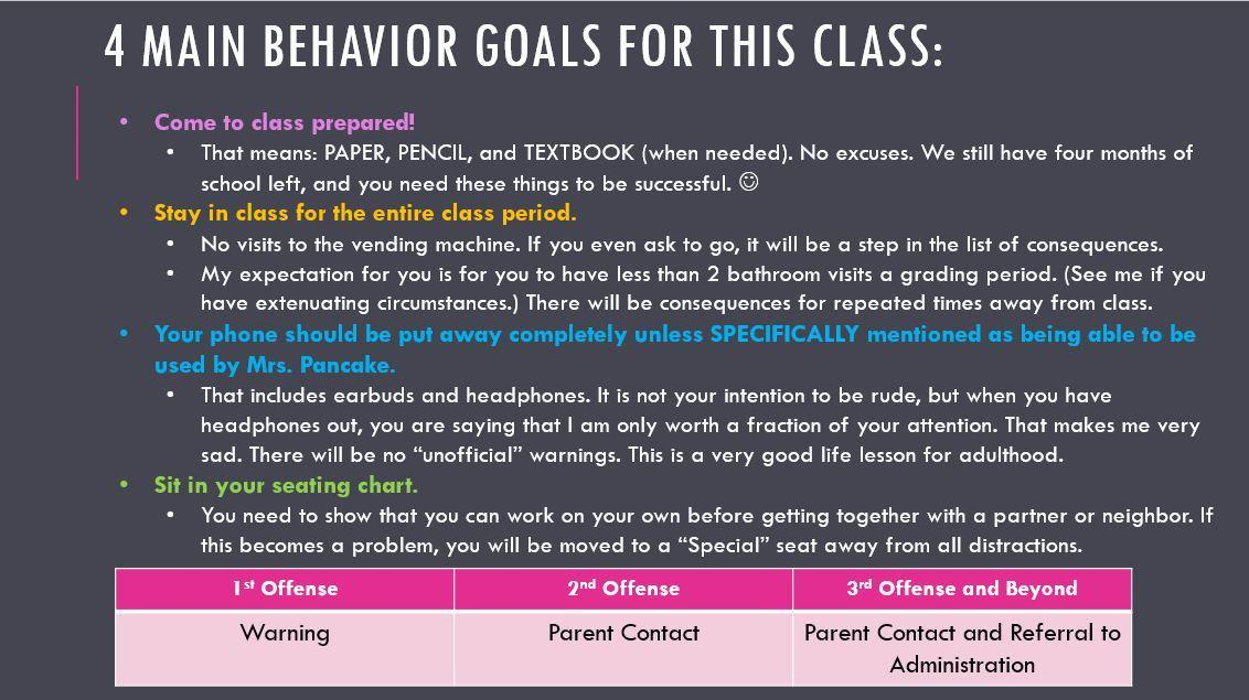 Behavior Goals