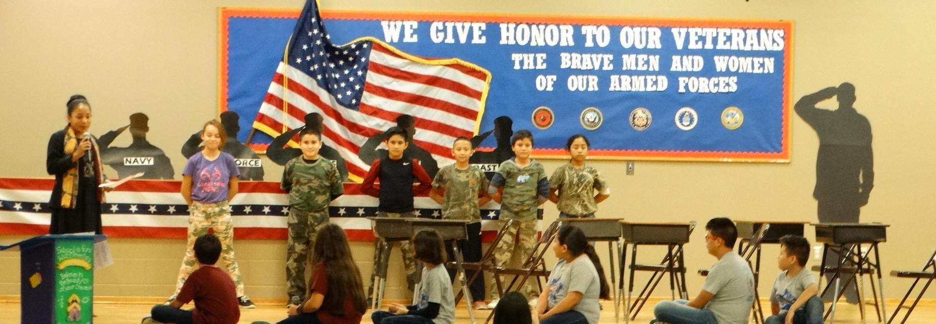 5th grade skit at the Veterans Day Program
