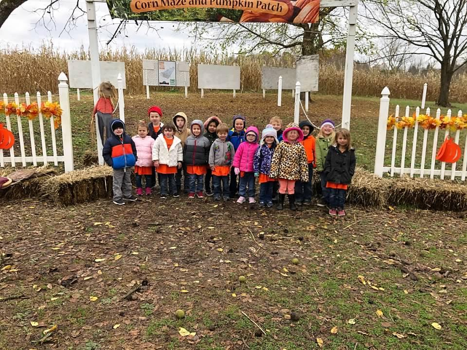 PreK students pose for photo at Stickley Farms
