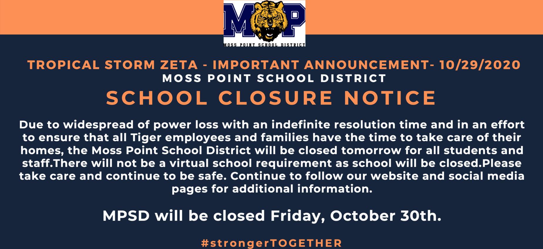 SCHOOL CLOSURE NOTICE - NO SCHOOL FRIDAY - 10/29/2020