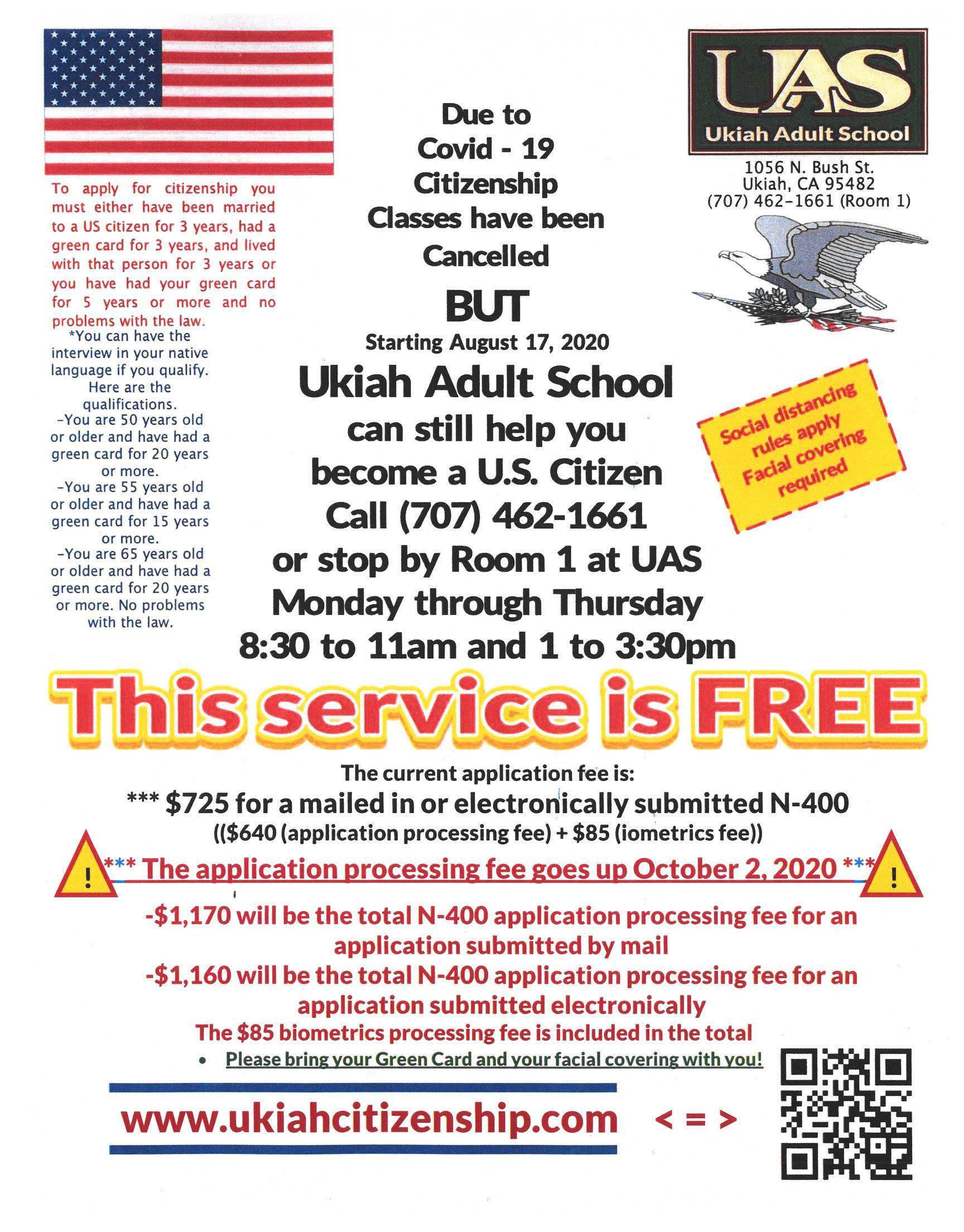 Up-dated fall 2020 citizenship poster the $85 biometrics fee is included in the total.  The fe goes up October 2, 2020.