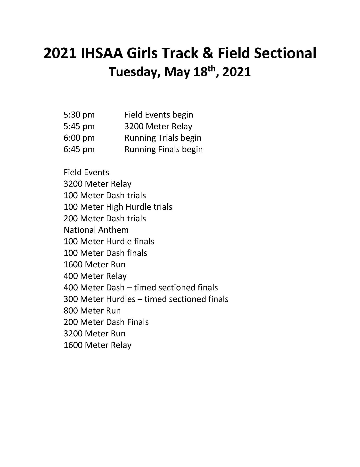Girls Track Sectionals