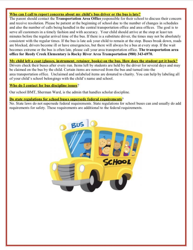 Image contains yellow school bus and transportation FAQs