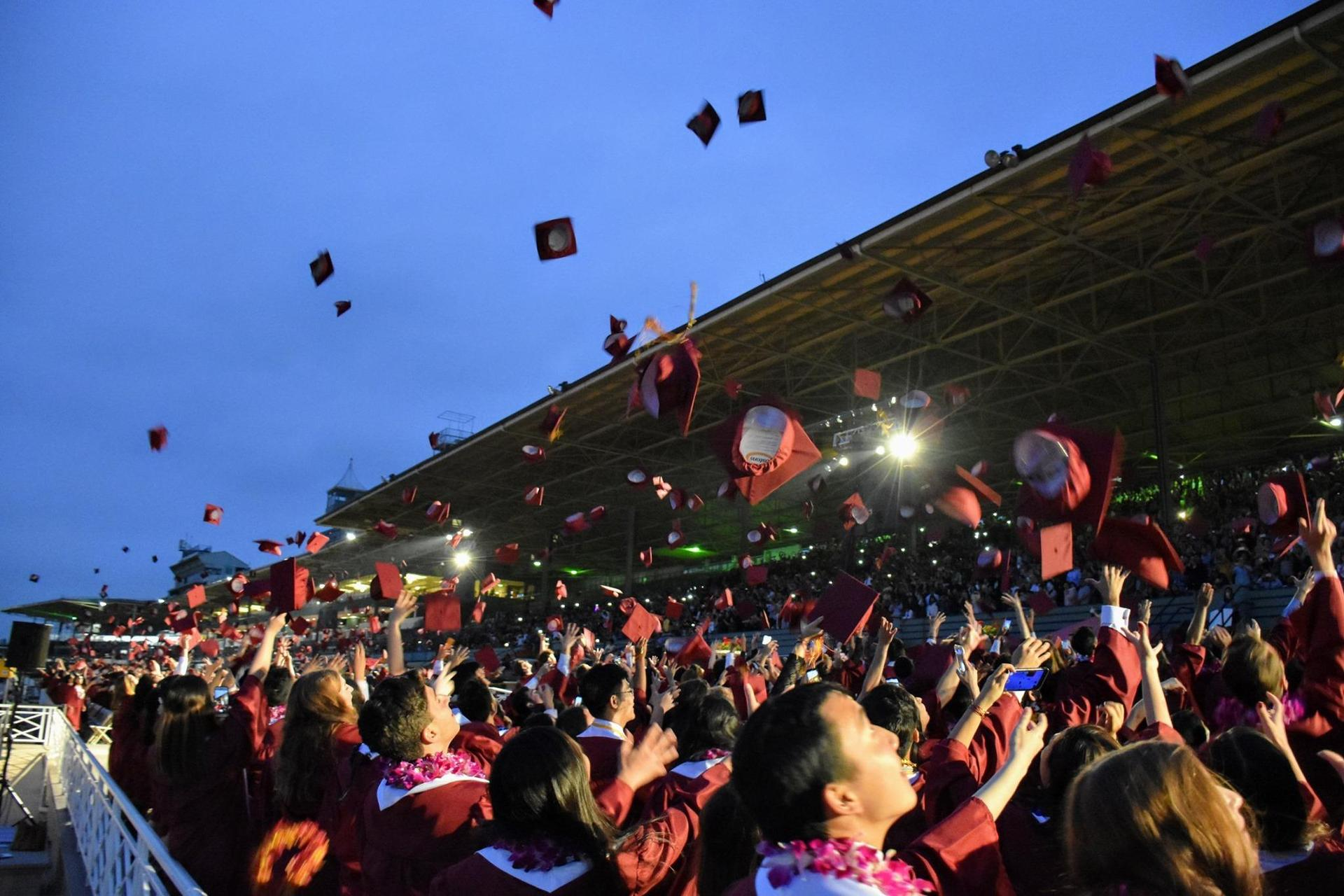 Arcadia High Class of 2019 cap toss