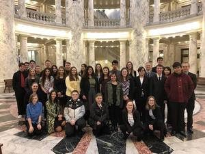 BPA students pose for a group photo in the Statehouse.