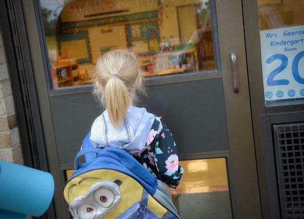 Waiting for the classroom door to open