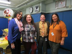 mrs. Tortorella, mr. celebrano and two jefferson teachers