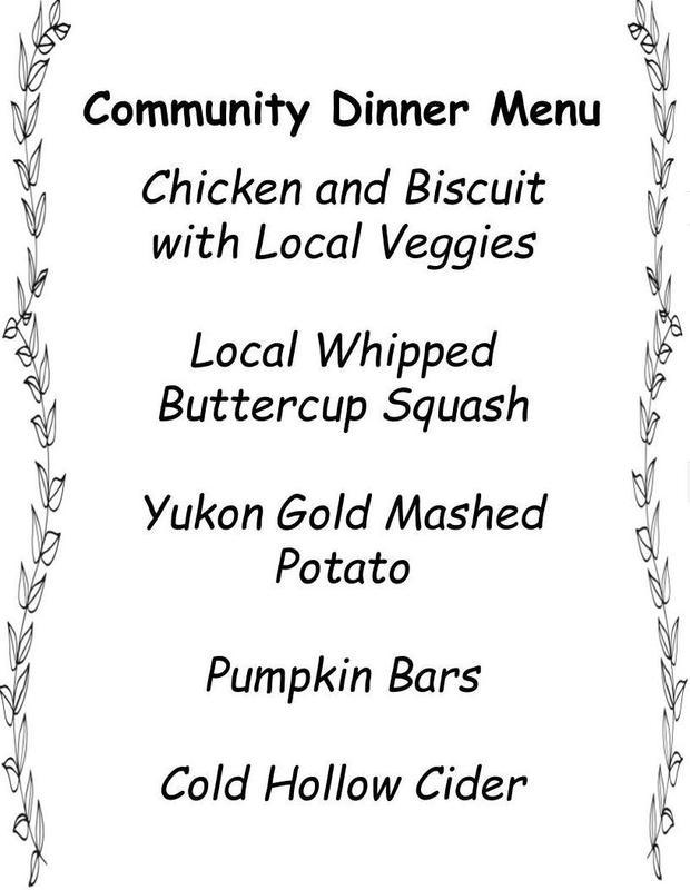 Community Dinner Menu