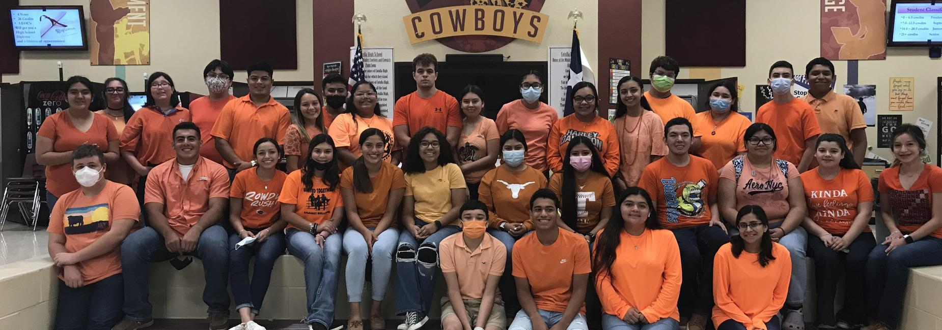 CHS Students wearing orange for unity day