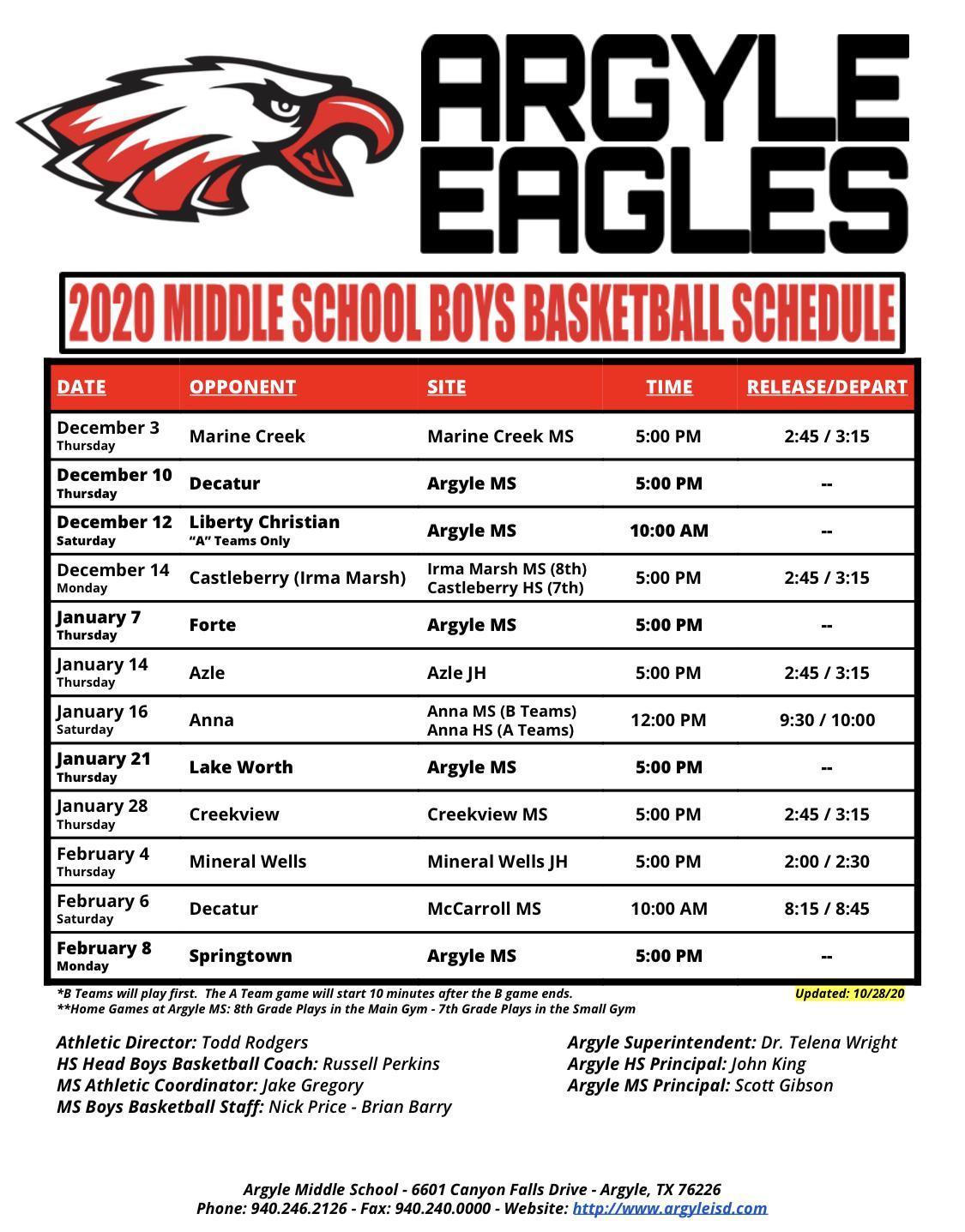 2020-2021 Argyle MS Boys Basketball Schedule - Updated 10-28-20