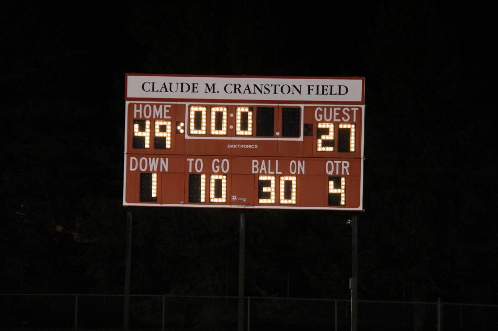 Scoreboard with the score home 49, visitors 27