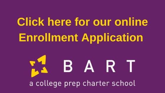 "image says ""click here for our online enrollment application"" and has the BART logo"