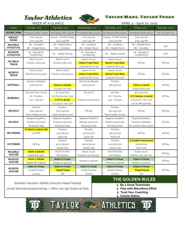 Athletics Schedule
