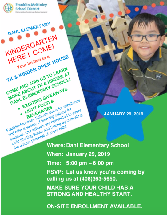 TK/Kinder Open House Flyer; January 29, 2019 at 5pm