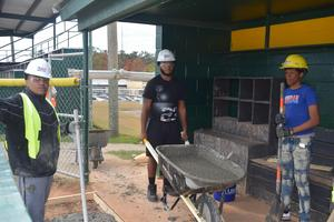 The McComb High School Business and Technology's Carpentry program did a live work request for the McComb School District Athletics