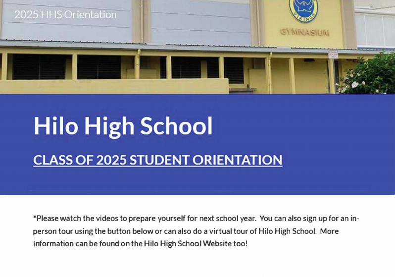 Class of 2025 Hilo High Orientation Videos Featured Photo