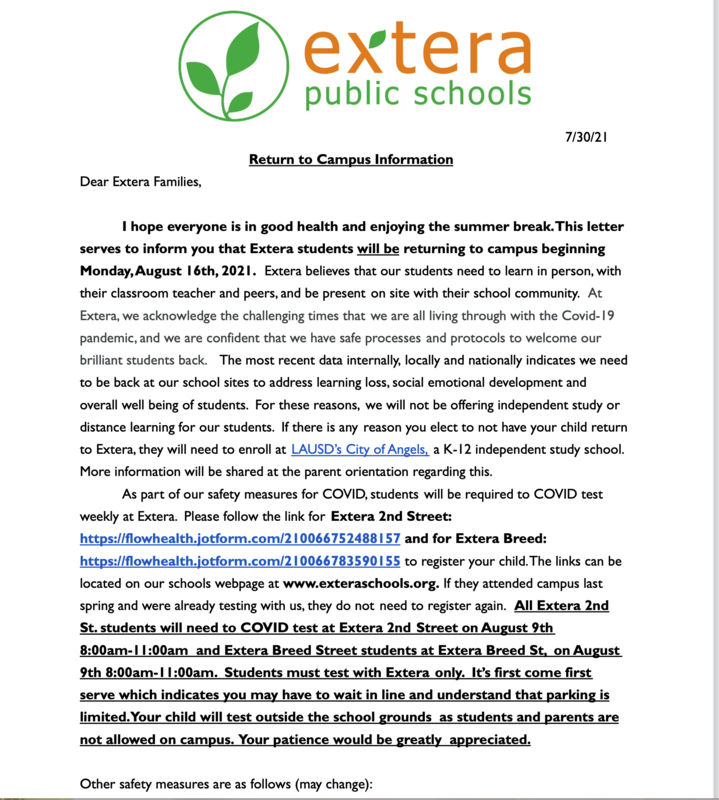 Click Here - Return to School Letter- Haga Clic aqui - August 16 Carta de Regreso a la Escuela - 16 de Agosto Featured Photo