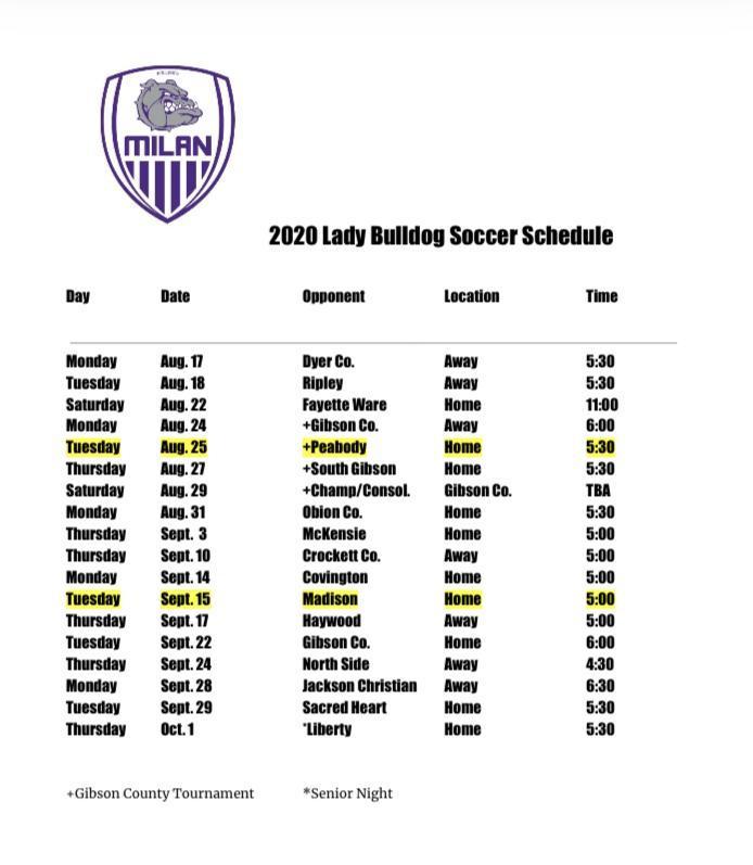 2020 Girls Soccer Schedule