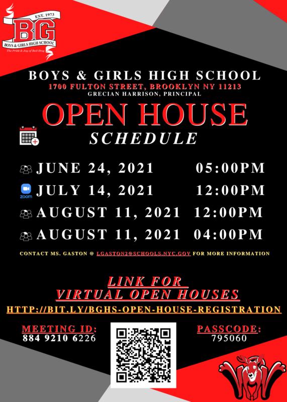 BGHS Open House Schedule Summer 2021