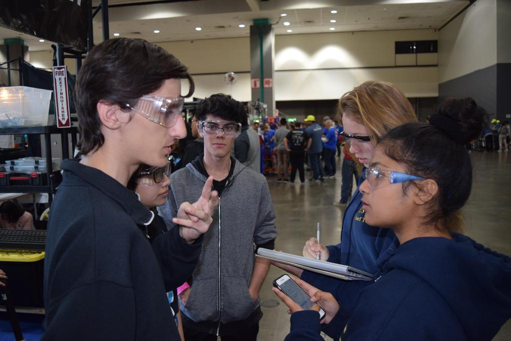 Mesrop talking to scouts
