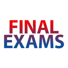 the words final exams written in bold red and blue letters