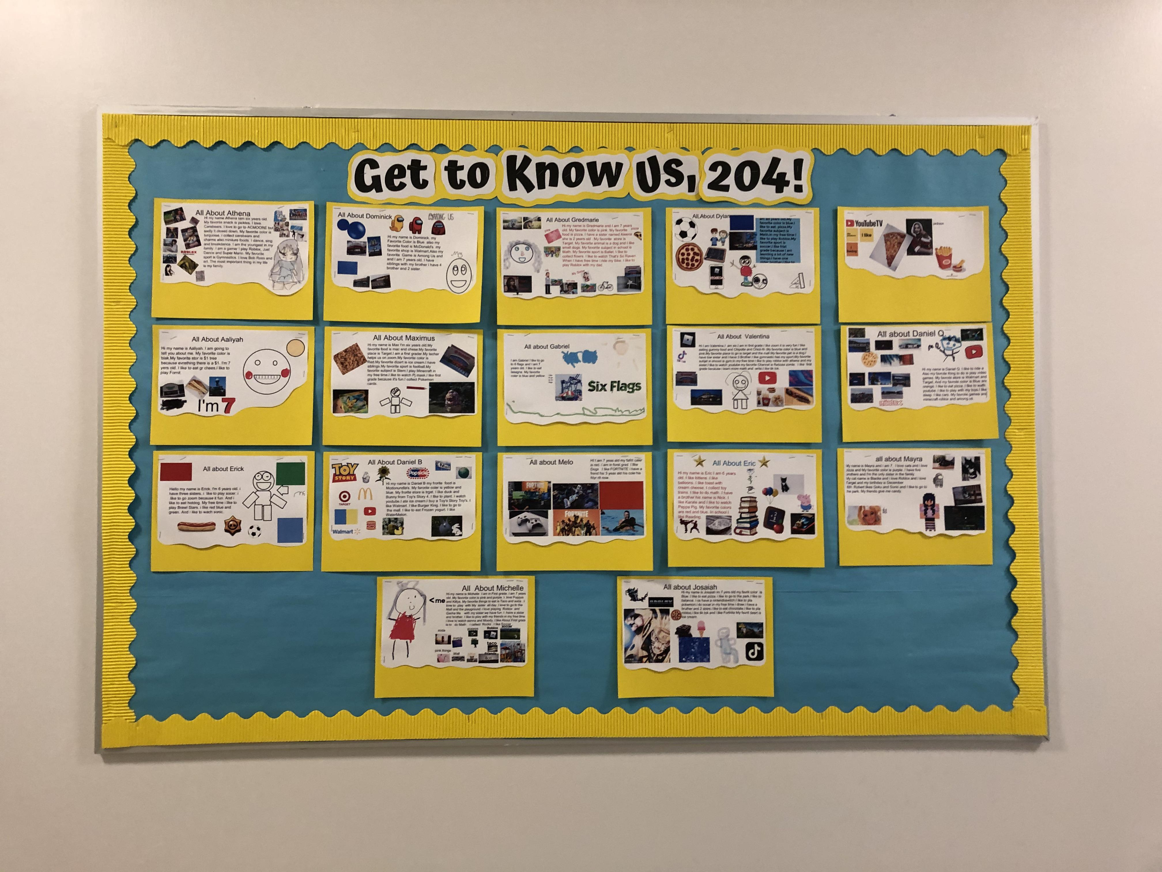 'Get to know us, 204' bulletin board
