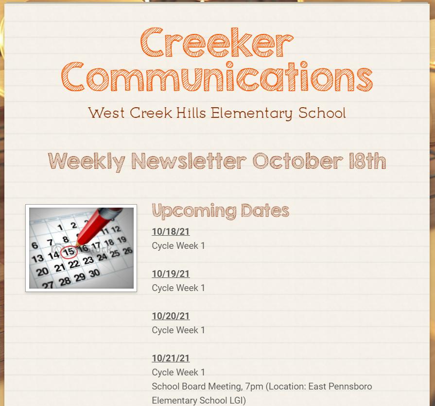 WCH Weekly Newsletter 10/18