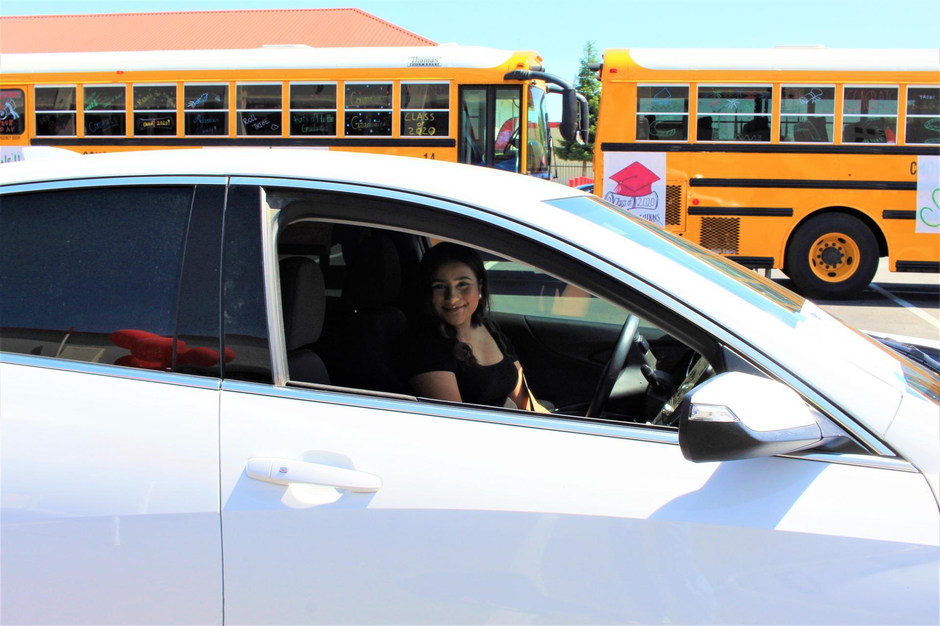 Jennifer Tapia driving through