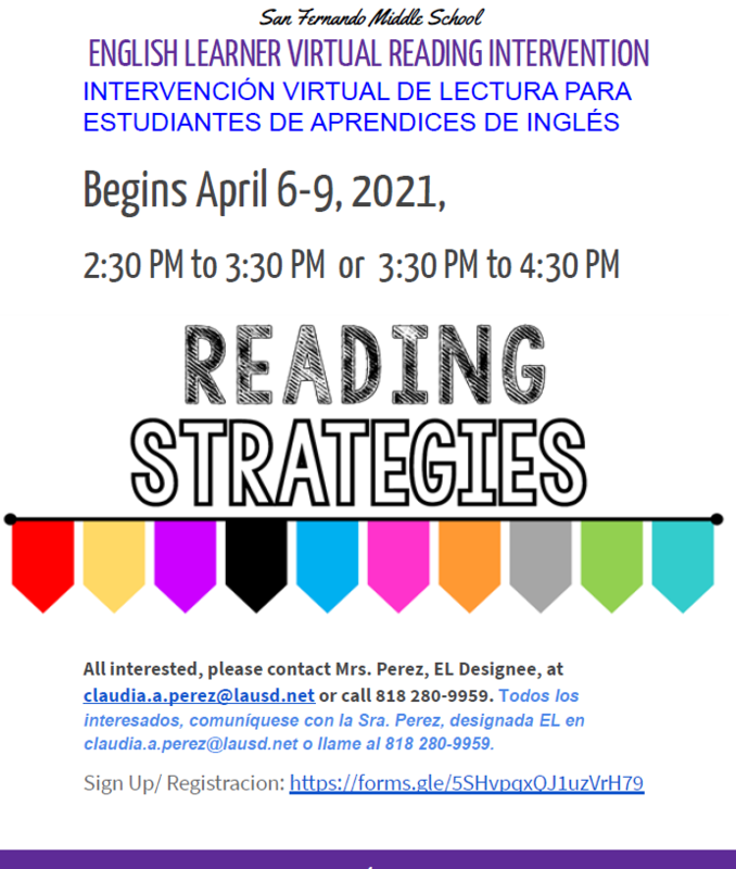 English Learner Reading Strategies Intervention/ INTERVENCIÓN VIRTUAL DE LECTURA PARA ESTUDIANTES DE APRENDICES DE INGLÉS Featured Photo