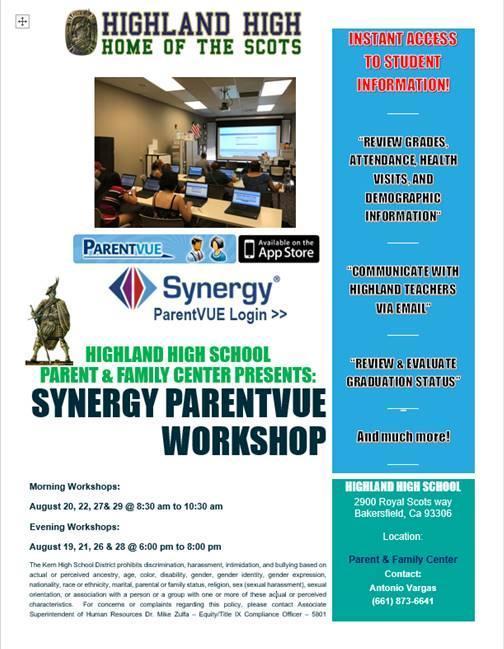 Flyer for Synergy Workshops