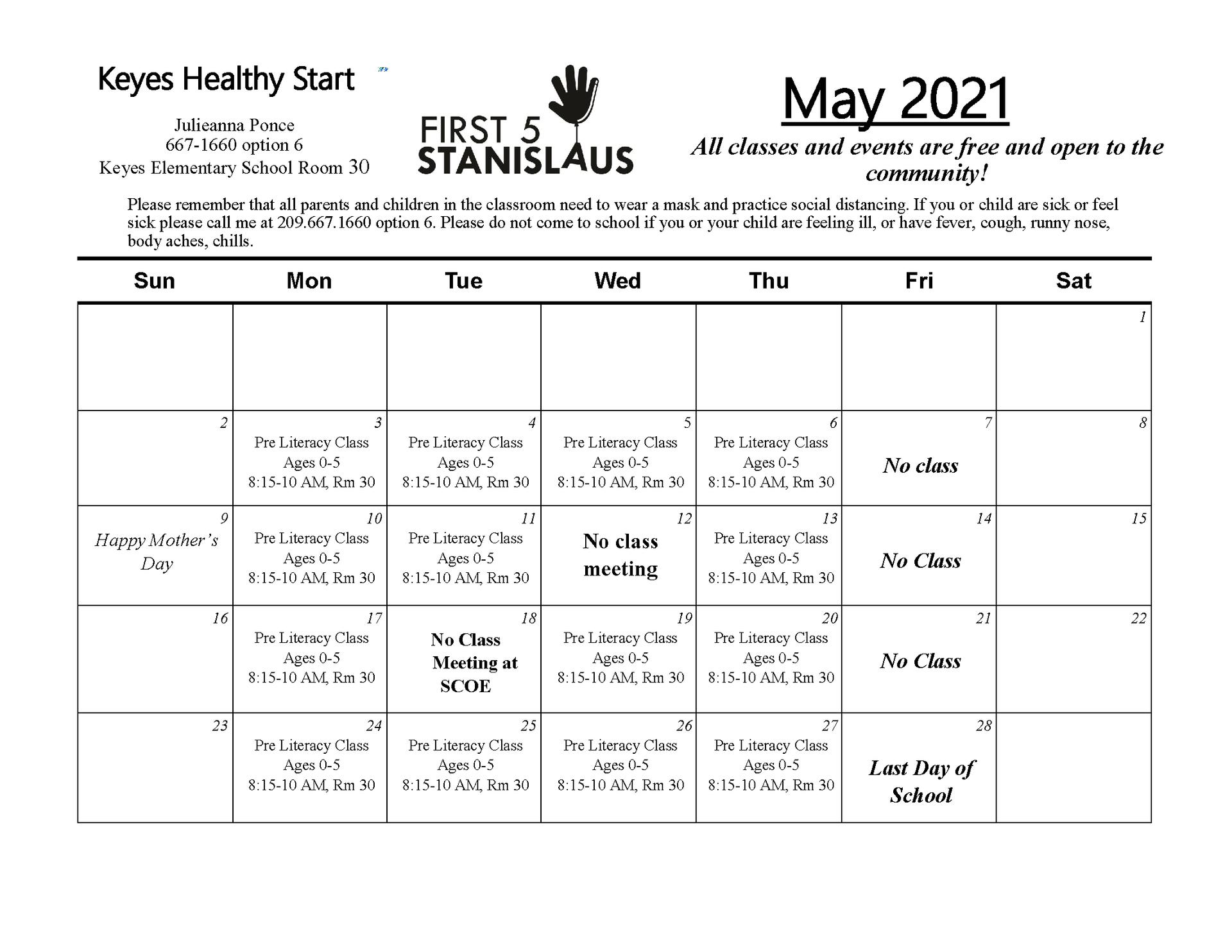 May Calendar - Spanish