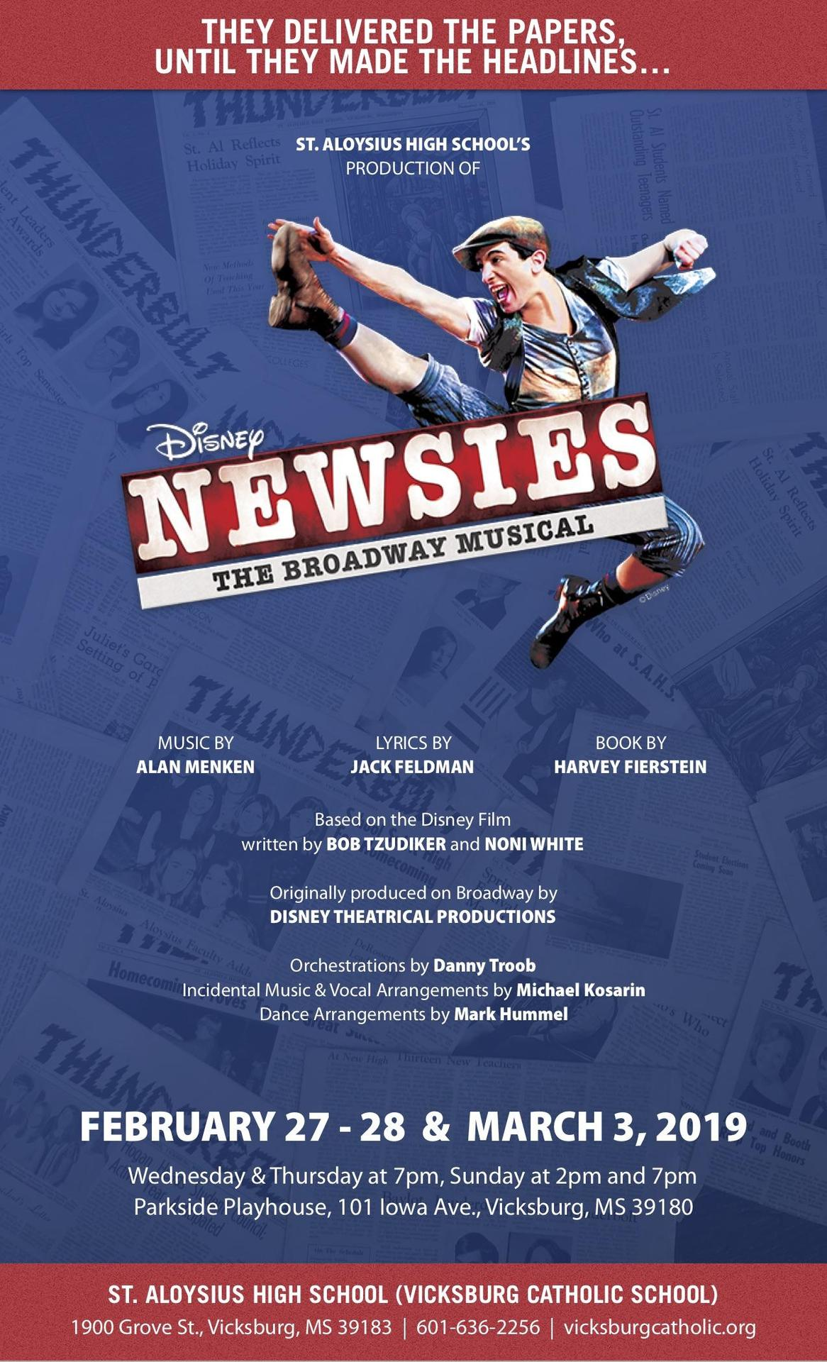 St. Aloysius High School's Production of Disney's Newsies Poster