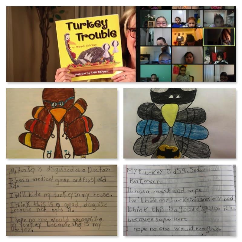 Zoom class with disguised turkey drawings and explanations collage