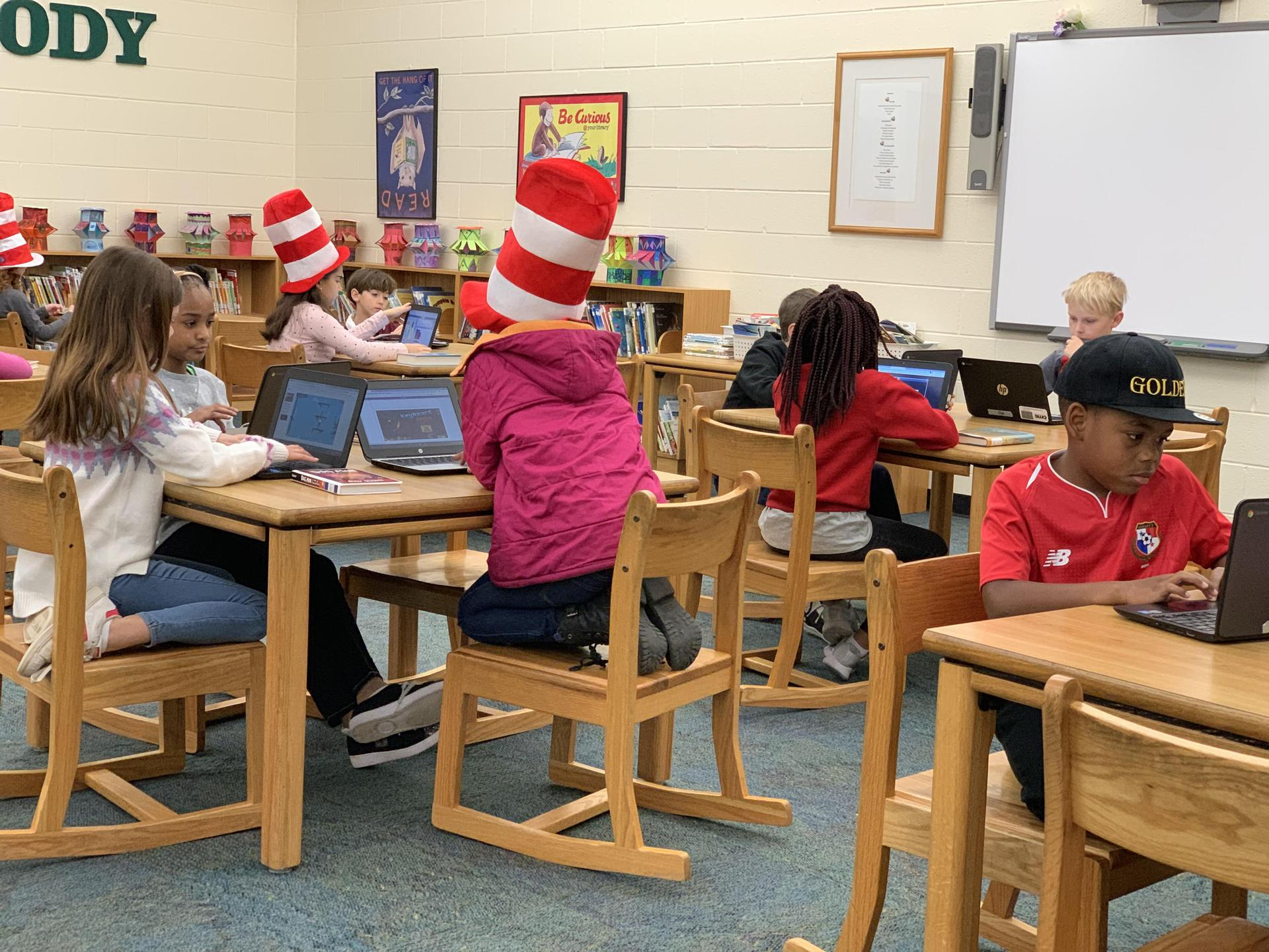 Dr. Seuss Week in the Media Center with Chromebooks.