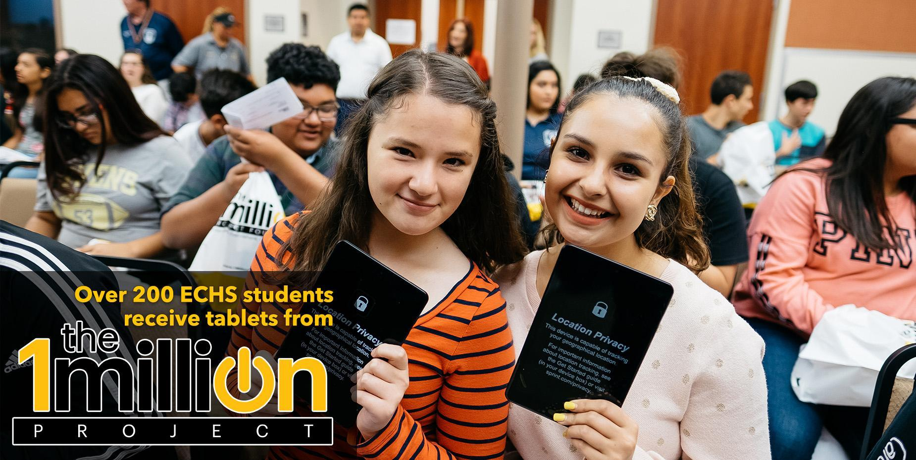 Over 200 ECHS students receive tablets from Spring 1Million Project