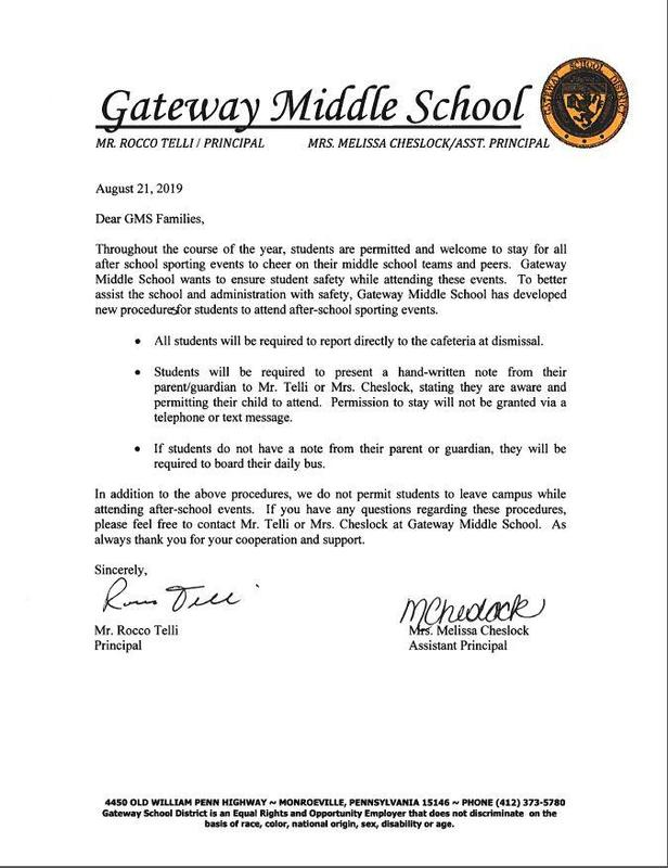 GMS procedures for attending after school sporting events