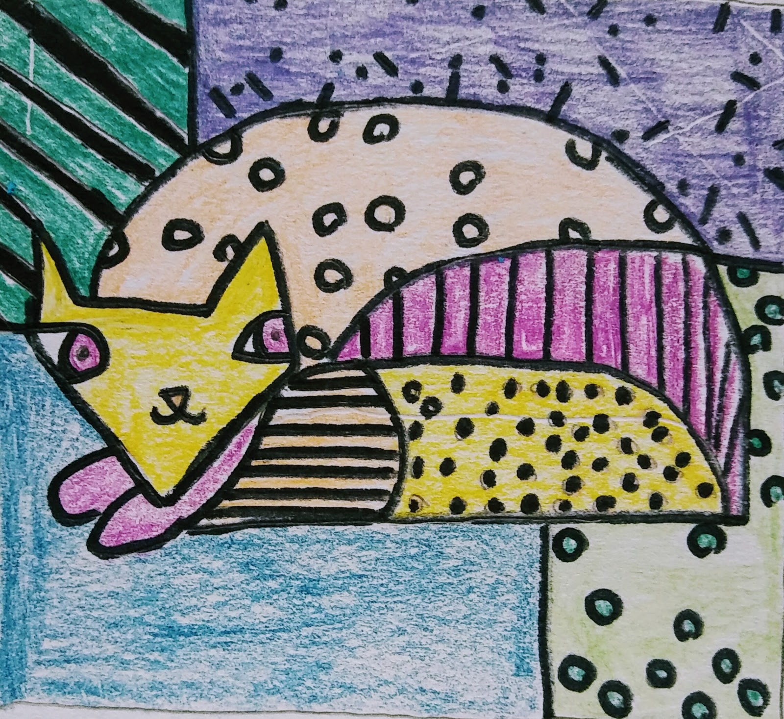 Student Abstract Drawing of Cat